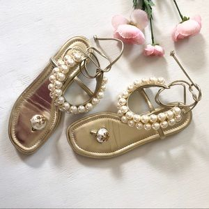 Tory Burch Melody Gold Pearl Leather Flat Sandals